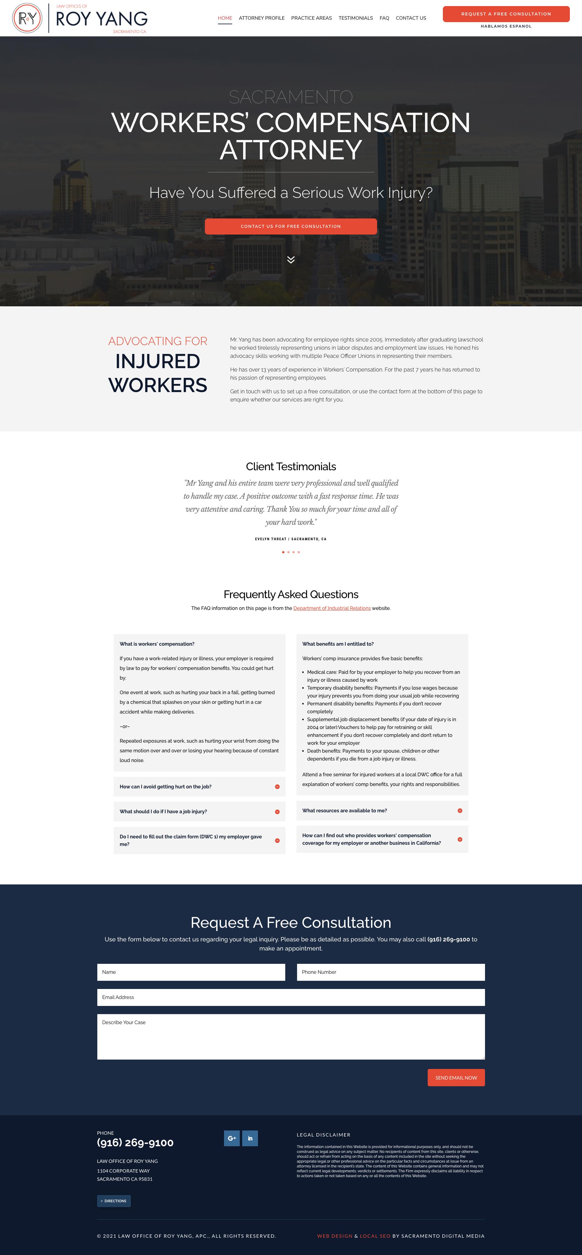 Custom Website Design for the Law Office of Roy Yang