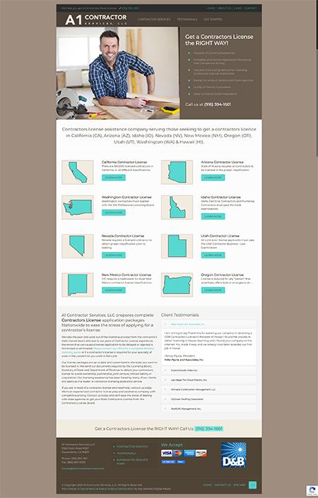 Custom website for A1 Contractor Services by Sacramento Web Design Company