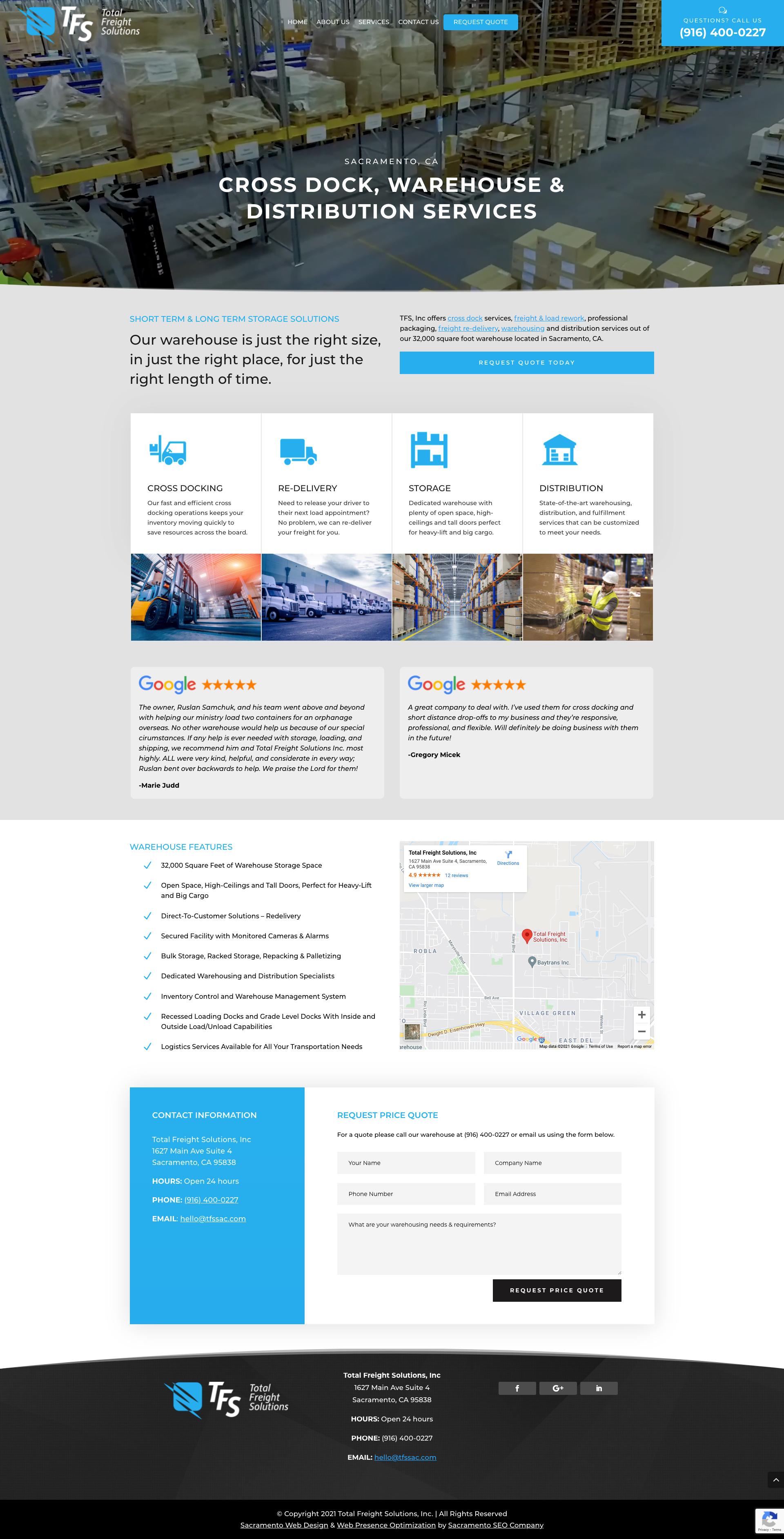 Website for Total Freight Solutions Inc., by Sacramento Web Designer at Sacramento Digital Media