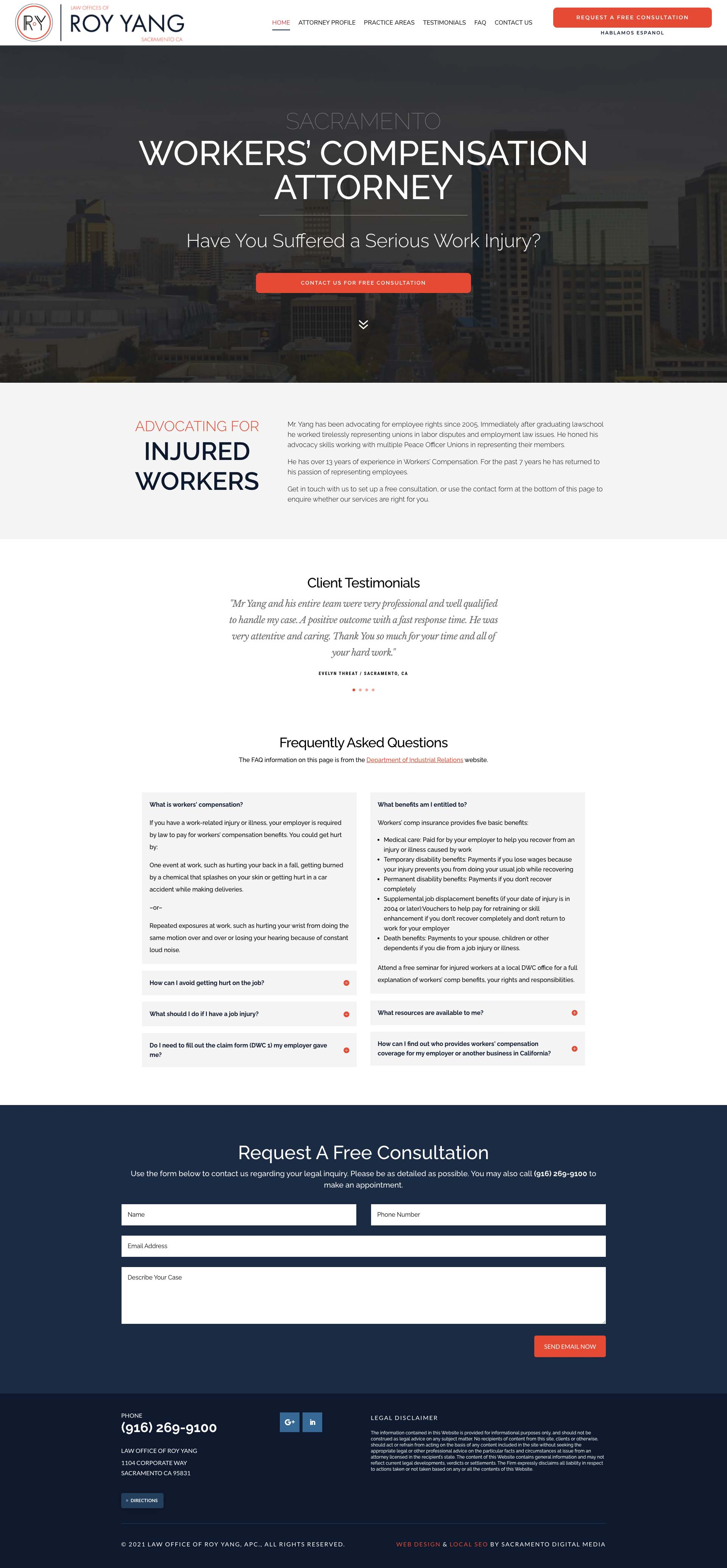 Web Design in Sacramento for the Law Office of Roy Yang