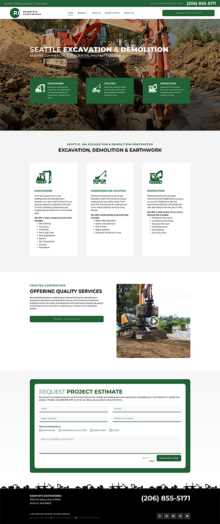 Web Site Design Sacramento - Rainstate Earthworks
