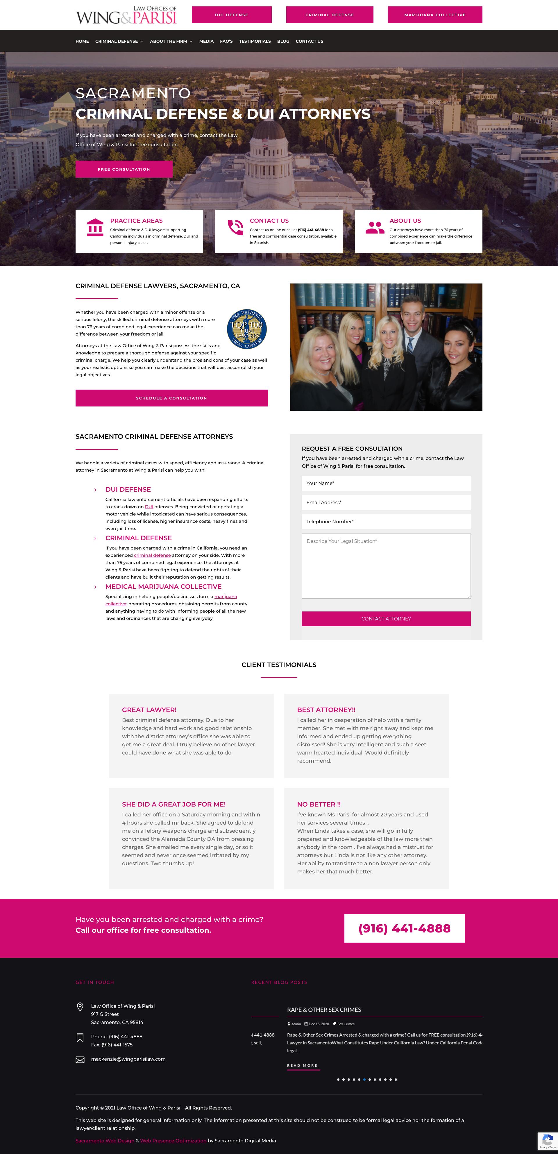 Website Design in Sacramento - Wing Parisi Law